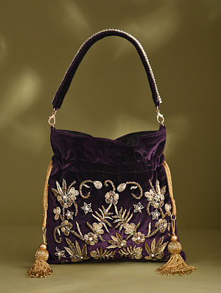 Purple Handcrafted Beaded Velvet Potli