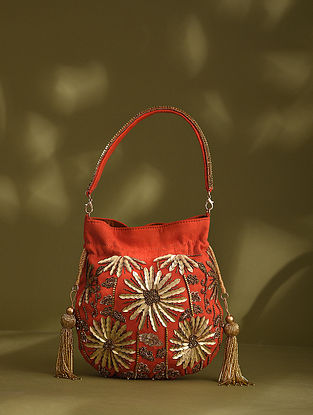 Orange Handcrafted Beaded Suede Potli