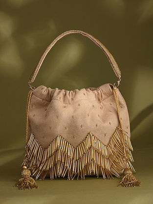Beige Handcrafted Beaded Suede Potli