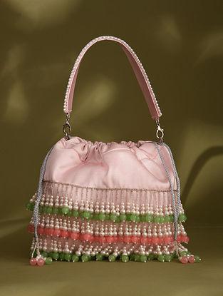 Baby Pink Handcrafted Beaded Silk Potli
