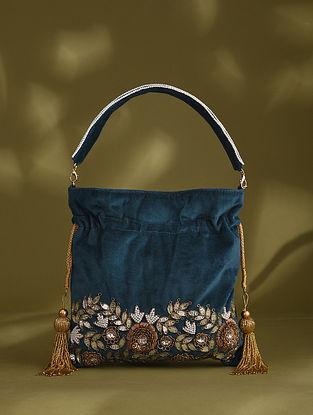 Dark Blue Handcrafted Beaded Velvet Potli