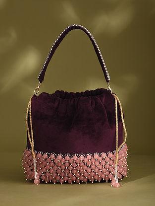 Purple Handcrafted Beaded Velvet Potli