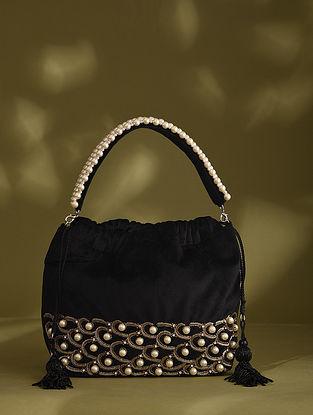 Black Handcrafted Beaded Velvet Potli