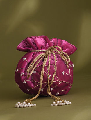 Pink Handcrafted Beaded Velvet Potli