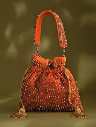 Orange Handcrafted Beaded Velvet Potli