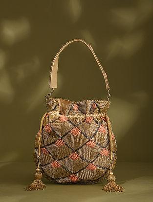 Gold Handcrafted Beaded Silk Potli