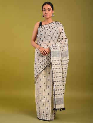 White Handloom Jamdani Cotton Saree