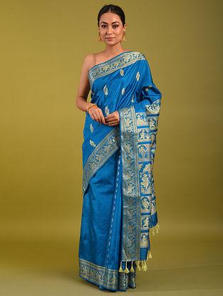 Blue Handloom Baluchari Silk Saree