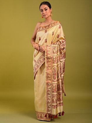 Cream Handloom Baluchari Silk Saree