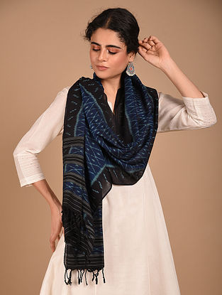 Black Handwoven Ikat Tussar Ghicha Silk Stole