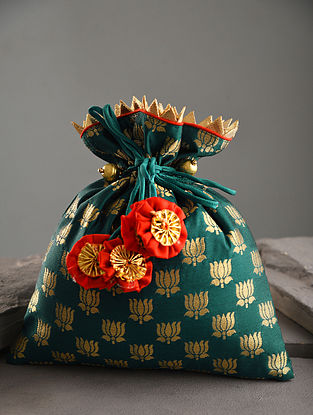Green Handcrafted Brocade Silk Potli