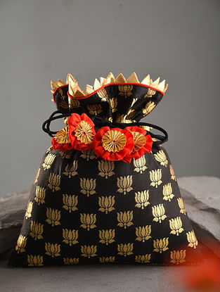 Black Handcrafted Brocade Silk Potli