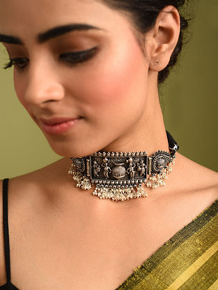 Black Tribal Silver Necklace with Pearls