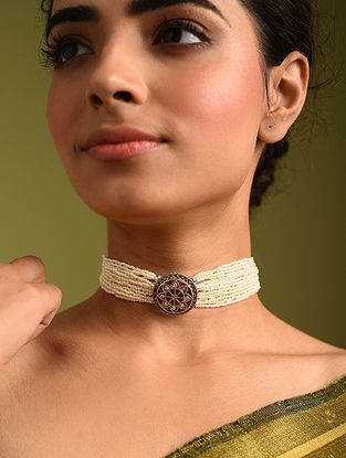 Pink White Tribal Silver Pearl Kundan Necklace