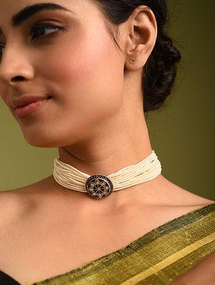 Green White Tribal Silver Pearl Kundan Necklace