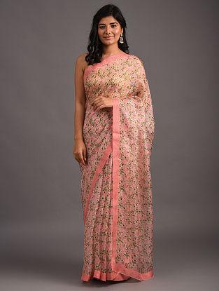 Pink Printed Benarasi Silk Saree
