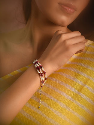 Red White Ruby Beaded Bracelet with Pearls