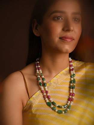 Red Green Emerald Ruby Beaded Necklace with Pearls