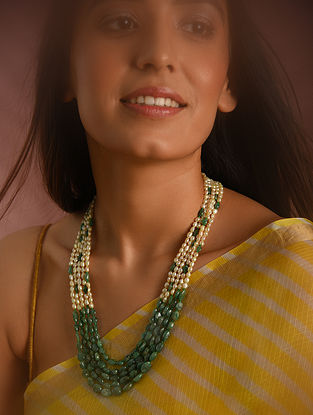 Green White Emerald Beaded Necklace with Pearls