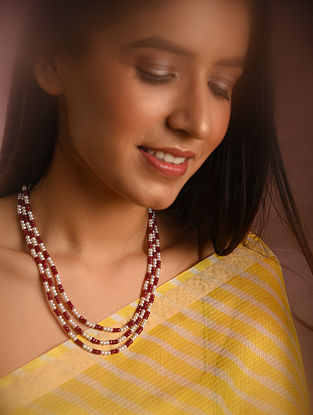 Red White Ruby Beaded Necklace with Pearls