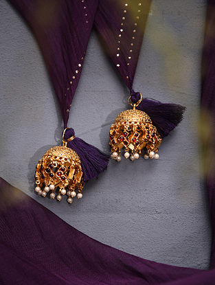 Red Gold Tone Temple Work Latkans With Pearls