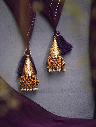 Red Green Gold Tone Temple Work Latkans With Pearls