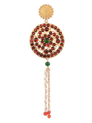 Red Green Gold Tone Temple Work Kurta Button With Pearls