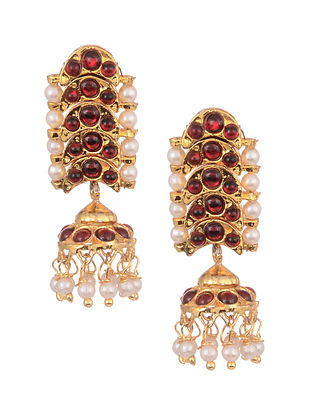 Red Gold Tone Temple Work Jhumki Earrings With Pearls