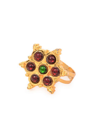 Red Green Gold Tone Temple Work Ring