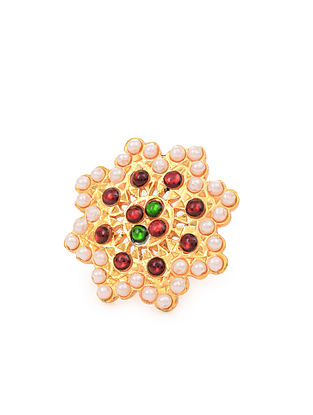 Red Green Gold Tone Temple Work Ring With Pearls