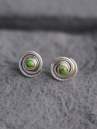 Sterling Silver Earrings with Green Turquoise