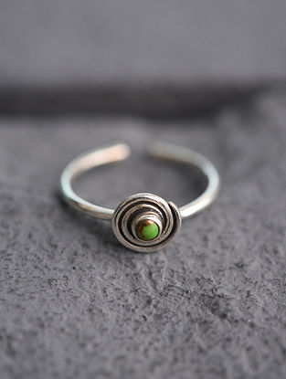 Adjustable Silver Ring with Green Turquoise