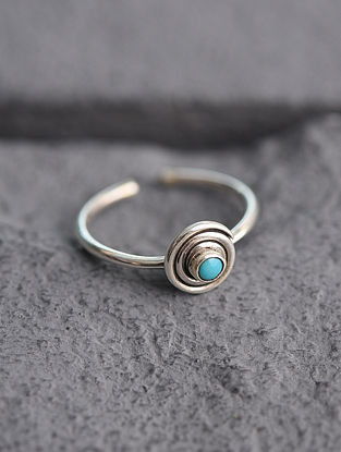 Adjustable Silver Ring with BlueTurquoise