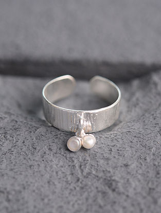 Adjustable Silver Ring with Pearl