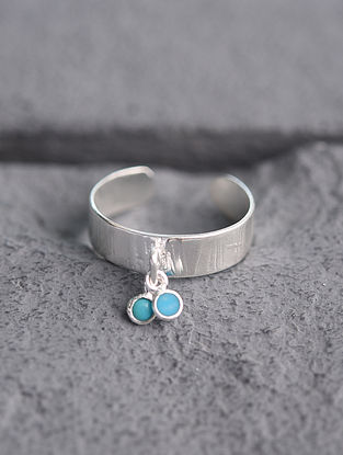 Adjustable Silver Ring with Turquoise