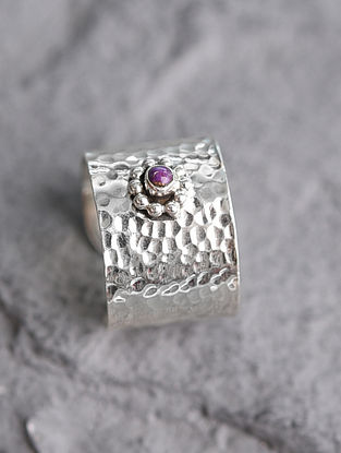 Adjustable Silver Ring with Purple Turquoise