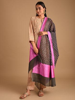 Black Handwoven Benarasi Cotton Silk Dupatta