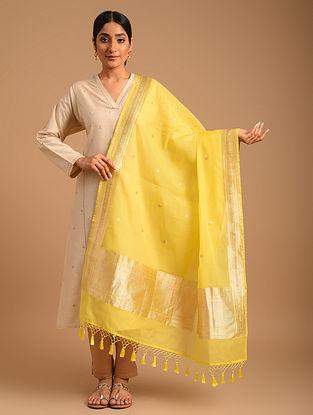 Yellow Handwoven Benarasi Cotton Silk Dupatta