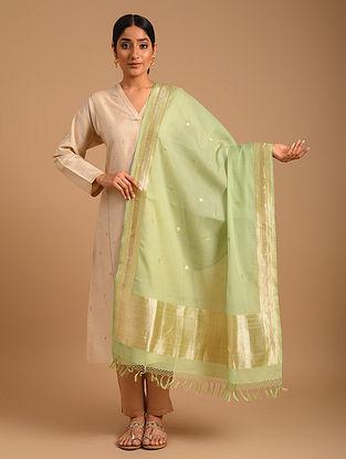 Green Handwoven Benarasi Cotton Silk Dupatta