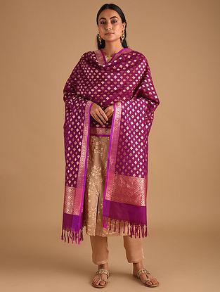 Purple Handwoven Benarasi Silk Georgette Dupatta