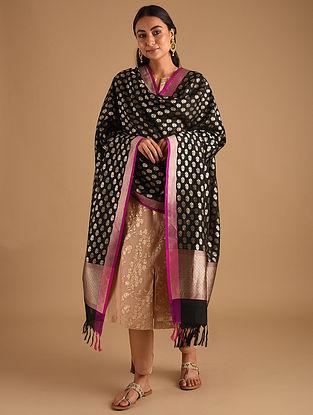 Black Handwoven Benarasi Silk Georgette Dupatta