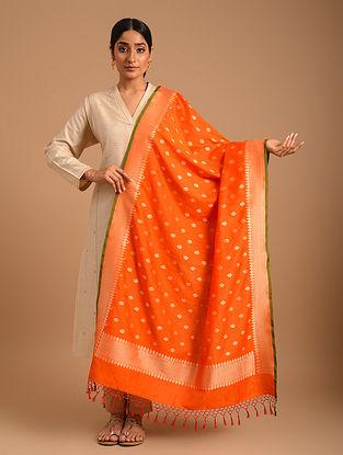 Orange Handwoven Benarasi Cotton Silk Dupatta