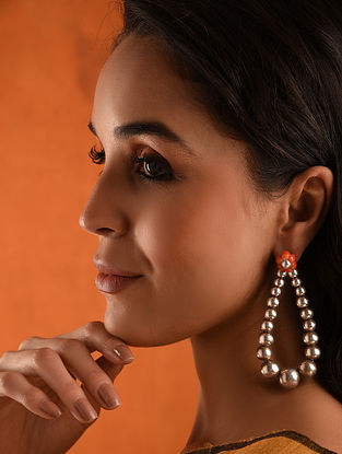 Vintage Silver Earrings With Coral
