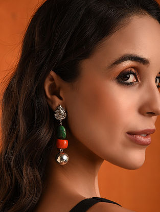 Vintage Silver Earringswith Turquoise and Coral