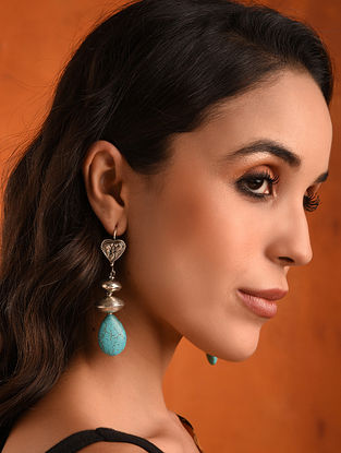Vintage Silver Earrings With Turquoise