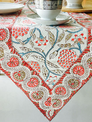 Red Devi Hand Block Printed Premium Cotton Canvas Table Runner (Length - 70in, Width - 13in)