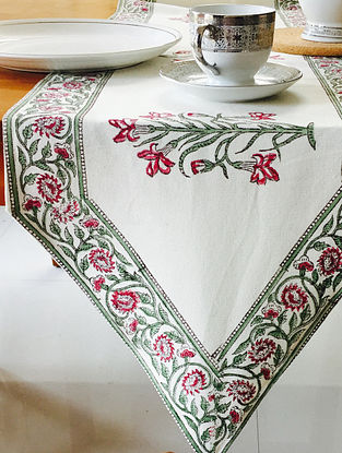 Green Cashmere Hand Block Printed Premium Cotton Canvas Table Runner (Length - 70in, Width - 13.5in)