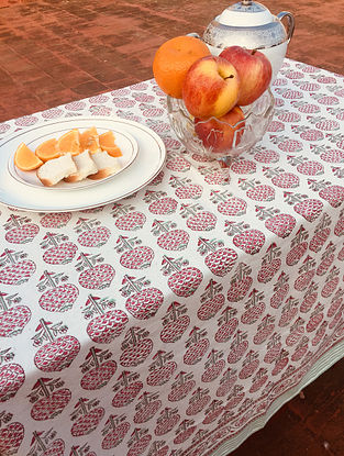 Green Gulab Hand Block Printed Premium Cotton Canvas Table Cloth (Length - 59in, Width - 59in)