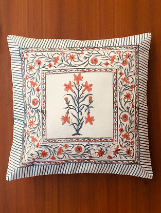 Blue and Orange Jehnuma Hand Block Printed Premium Cotton Canvas Cushion Cover (Length - 16.5in, Width - 16in)