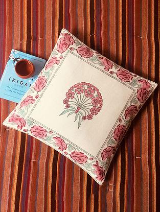 Fuschia Pink and Green Gulnaar Hand Block Printed Premium Cotton Canvas Cushion Cover (Length - 16in, Width - 15.5in)